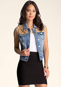 bebe Sequin Denim Vest