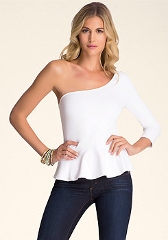 bebe One Shoulder Peplum Top