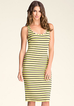 bebe Crossback Stripe Midi Dress