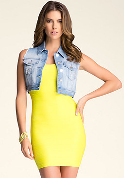 bebe Destroyed Chain Crop Vest
