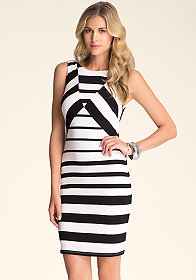 bebe Diamond Boatneck Dress