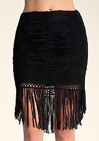 bebe All Over Crochet Skirt
