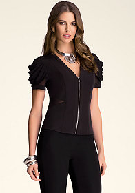 Tiered Drape Sleeve Top at bebe