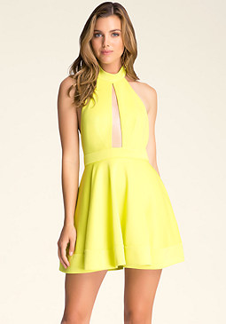 bebe Backless Fit & Flare Dress