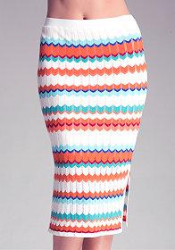 bebe Petite Zig Zag Midi Skirt