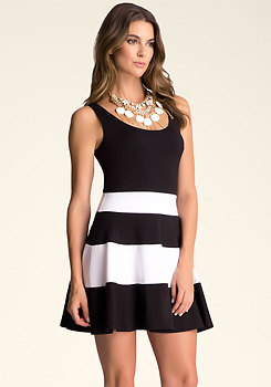 bebe Fit & Flare Striped Dress