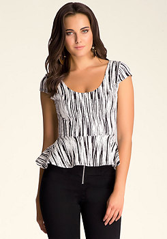 bebe Textured Peplum Top