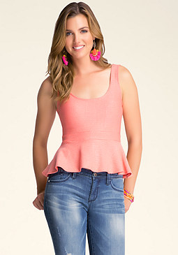bebe Textured Pleated Peplum Top