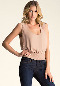 bebe Stud Fringe Shoulder Top �