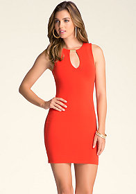 SLEEVELESS FRONT KEYHOLE DRESS at bebe