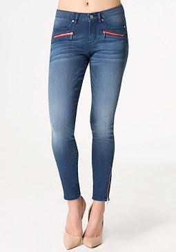 bebe Contrast Zip Skinny Jeans