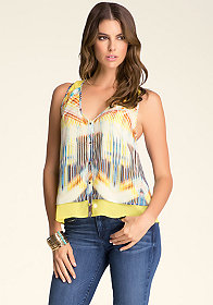 bebe Layered Button Down Top