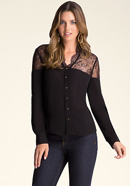 bebe Lace Block Shirt