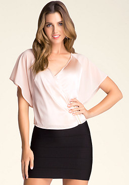 bebe Zipper Surplice Top