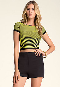 bebe Stripe Crop Tee