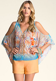 bebe Cold Shoulder Jersey Kaftan