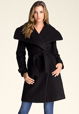 bebe Shawl Collar Belted Coat