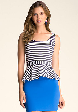 bebe Stripe Peplum Tank Top