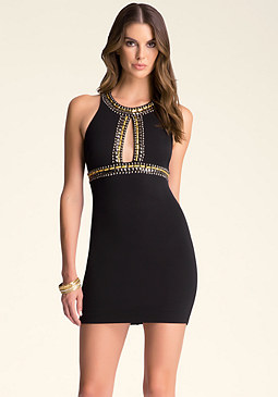 bebe Beaded Open Ponte Dress