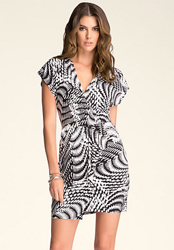 bebe Print Faux Wrap Dress