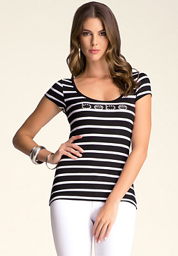 bebe Lace Back Stripe Top