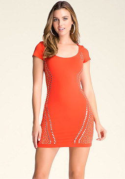 bebe Studded Mesh-Inset Dress