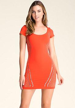 bebe Studded Mesh-Inset Dress