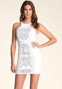 bebe Leatherette Stud Dress
