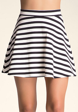 bebe Striped Circle Skirt