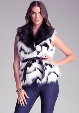 bebe Contrast Faux Fur Vest
