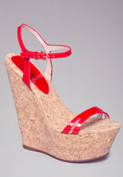 bebe Nilaya Strappy Cork Wedges