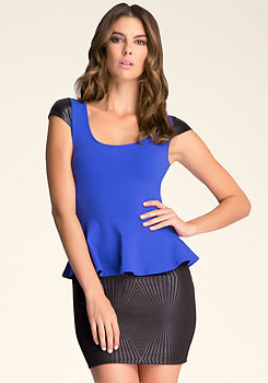 bebe Wet Sleeve Peplum Top