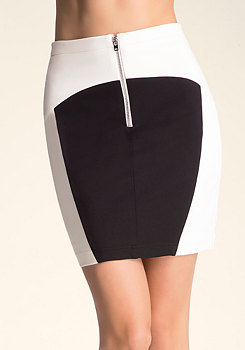 Colorblock High Waist Skirt at bebe
