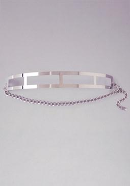 bebe Curved Metal Cutout Belt