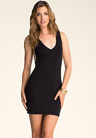 bebe V-Neck Chain Dress