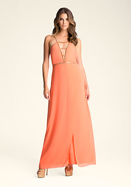 Deep V Chain Maxi Dress at bebe