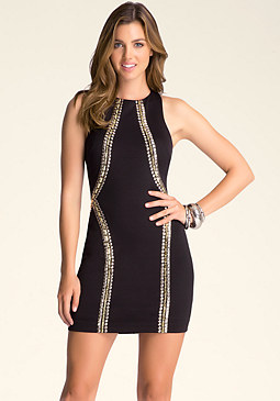bebe Embellished Racerback Dress