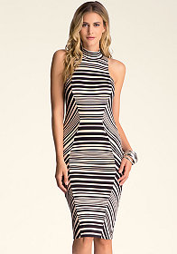 bebe Stripe Mock Neck Midi Dress