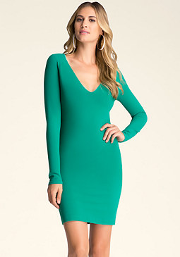 bebe V Neck Bodycon Dress��