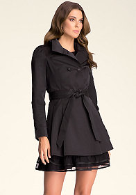 bebe Ruffle Collar Trench Coat