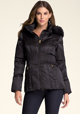 bebe Quilted Faux Fur Jacket