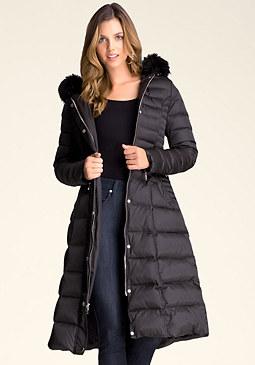 bebe Faux Fur Maxi Puffer Coat