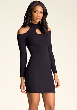 bebe Cold Shoulder Sweater Dress