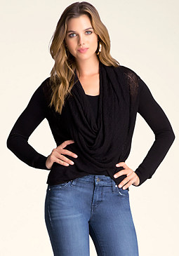 bebe Twisted Cowl Front Sweater