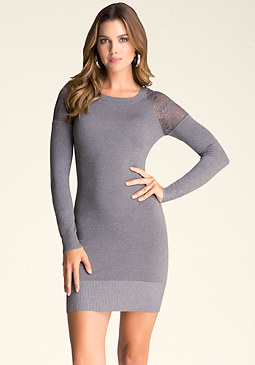 bebe Lace Yoke Sweater Dress
