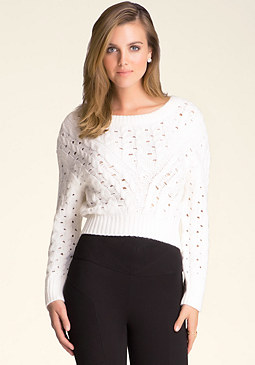 bebe Drop Shoulder Cable Sweater