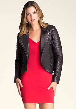 bebe Asymmetric Leather Jacket