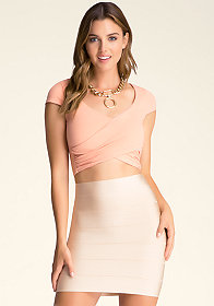 bebe Cap Sleeve Wrap Top