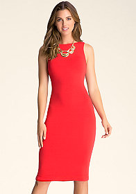 bebe Open Back Midi Dress
