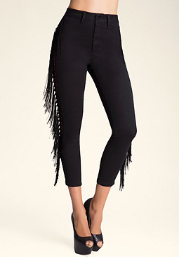 bebe High Waist Fringe Leggings